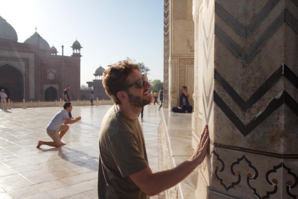 Drew, inspecting the craftsmanship at the Taj