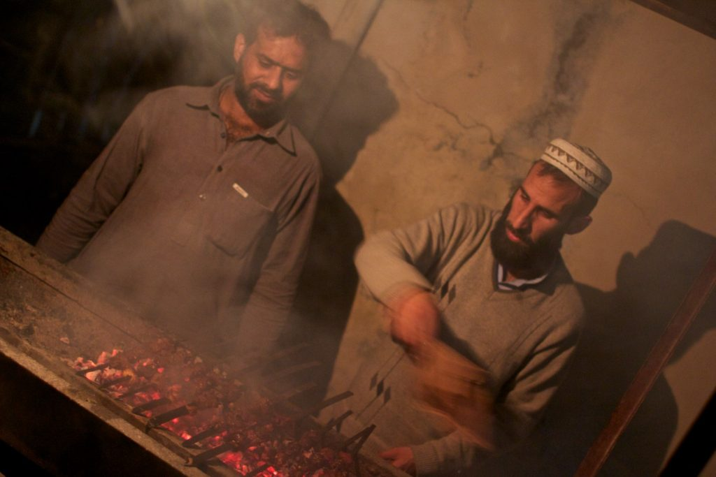 An excellent BBQ of beef with friends in Besham (you wouldn't get this in India!)
