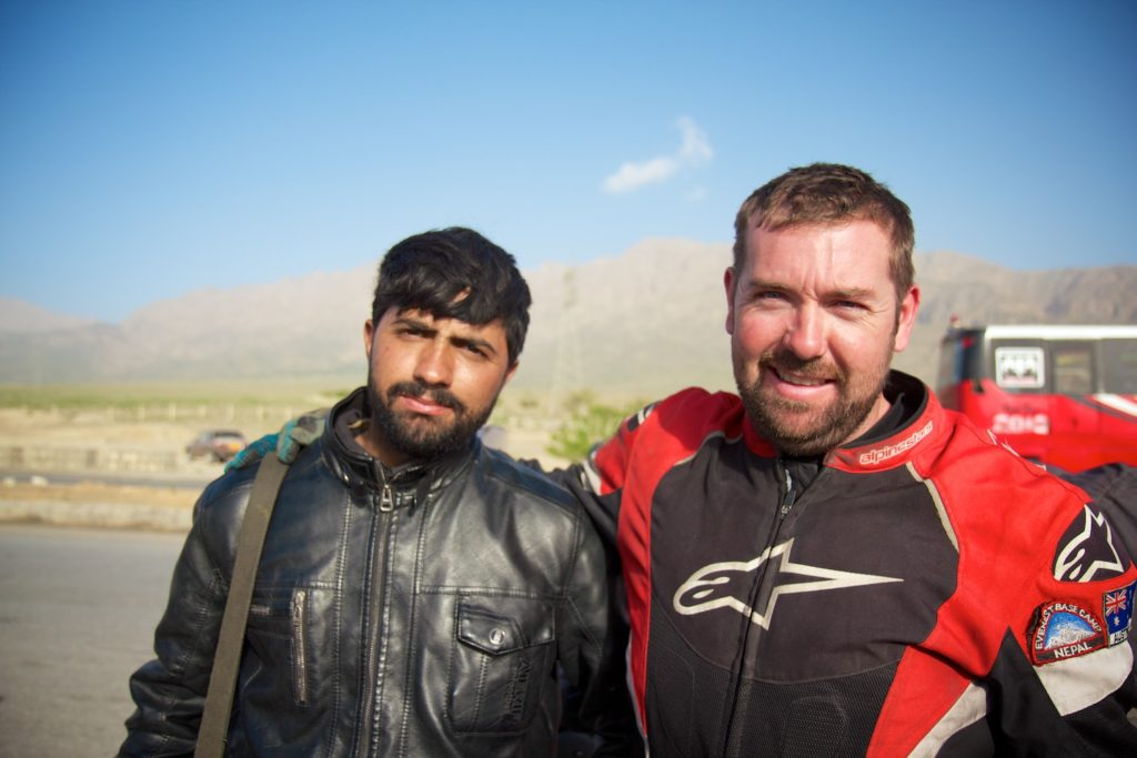 Colm, a fellow overlander posing with a policeman