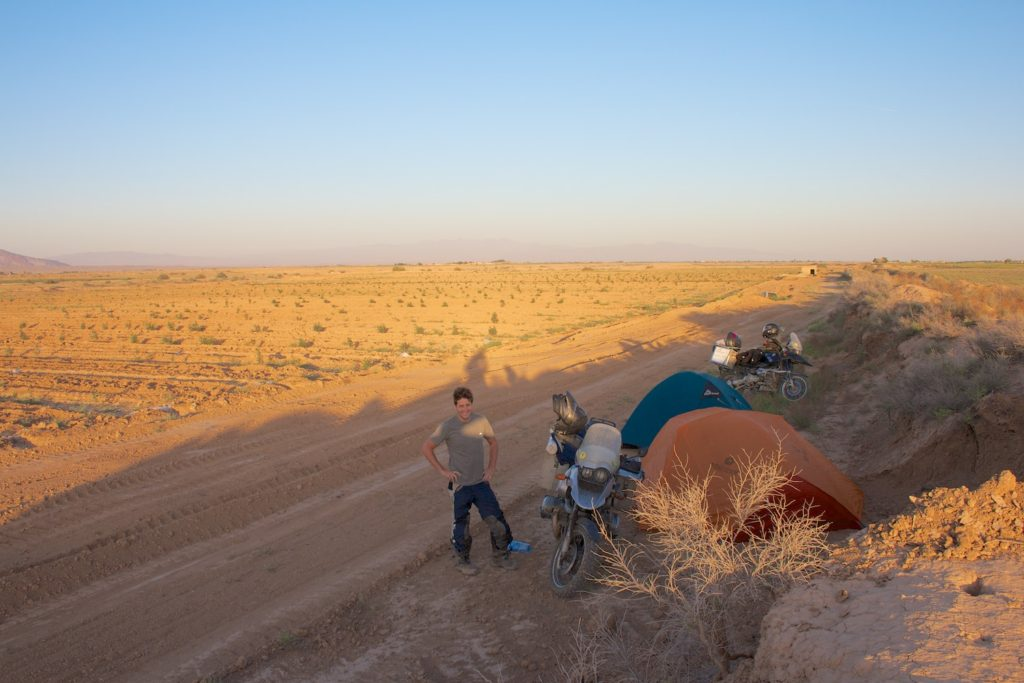 A roadside camp outside Qom. This is the first time we've camped since Australia!