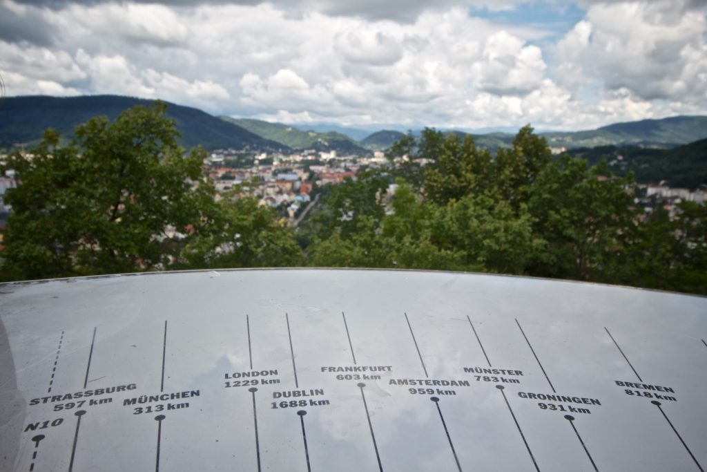 Good to know how far several of our destinations are - overlooking Graz, Austria