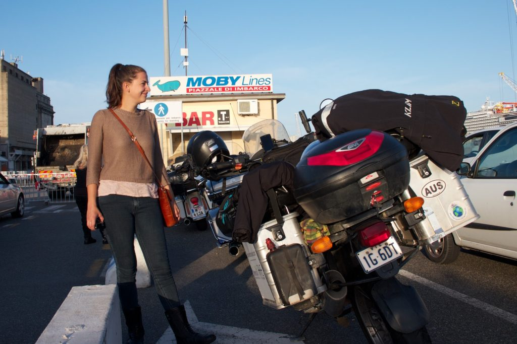 Waiting to board the ferry to Sardinia - we lined up with 10 other bikes, and none of them even said hello